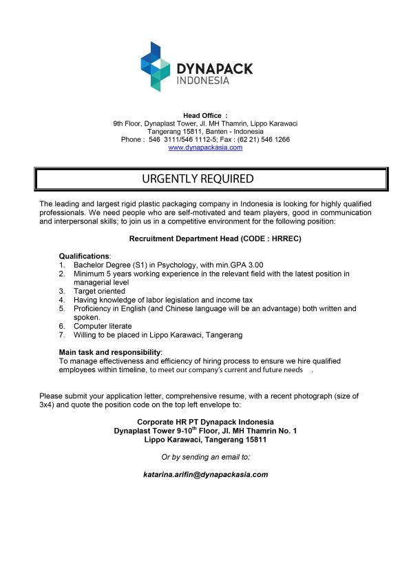CAREER OPPORTUNITIES - Recruitment Dept. Head-01
